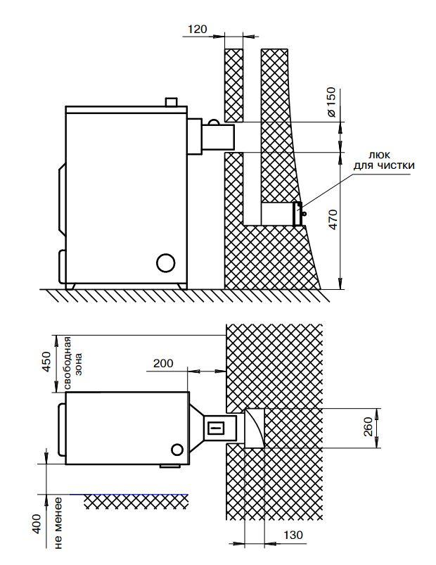 Схема установки котла ZOTA М20 без плиты